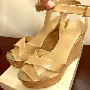Jimmy Choo patent leather nude wedges
